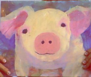 A pig that Lucy painted. I think she caught Turner's pigitis.